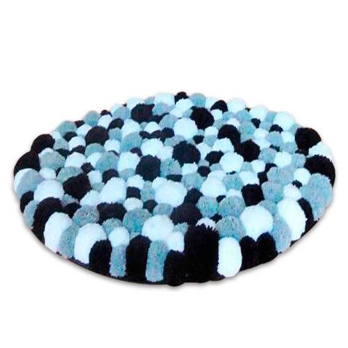 Tapete Circular Pompones Gris Azul