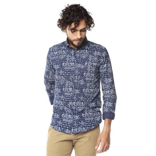 Camisa Manga Larga Murray Color Siete Para Hombre - Azul