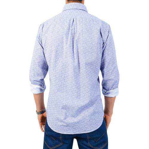 Camisa Manga Larga Murray Floral Color Siete para Hombre - Azul