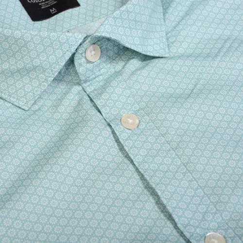 Camisa Manga Corta Color Siete Para Hombre  - Verde