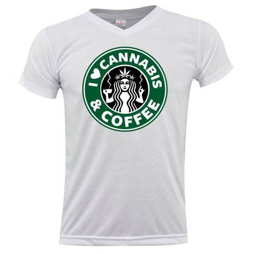 Camiseta Cuello V Cannabis Y Coffee 0182 - ART GENERATION