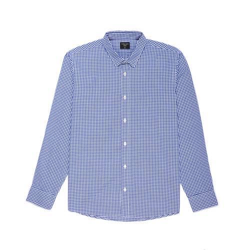 Camisa Cuadros Manga Larga - Azul