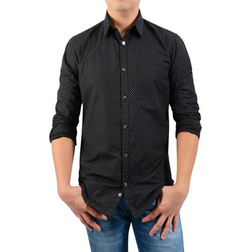 Camisa Manga Larga Leroy Floral Color Siete para Hombre - Negro