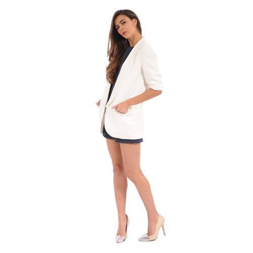 Blazer Largo Color Siete Para Mujer  - Beige