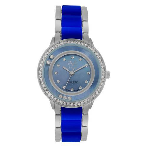Reloj análogo azul-plateado-azul-plateado