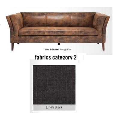 Sofá Canapee, 3 puestos, tela 2 - Linen Black  (160x73x79cms)