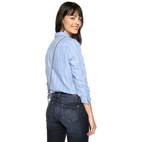 Camisa Basica Manga Larga Color Siete Para Mujer  - Azul