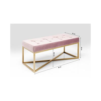 Banco Crossover rosa latón 90x40cm