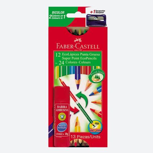Colores doble punta x12 + pegante en barra surtido 4751