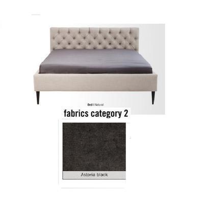 Cama Nova,  tela 2 - Astoria Black,   (85x180x215cms), 160x200cm (no incluye colchón)