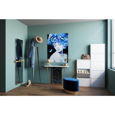 Cuadro cristal azul Queen 80x120cm