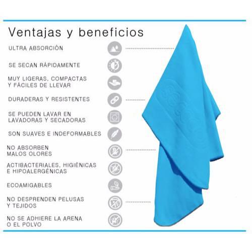 Set X 4 Toallas De Microfibra Marca Talla L Azul Claro Laac - SECCCO