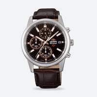 Reloj sporty quartz negro-café 005T