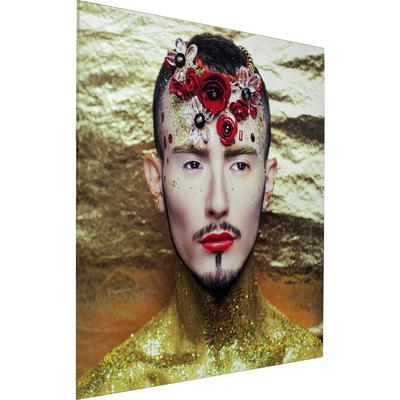 Cuadro cristal Metallic Flower Man 120x120cm