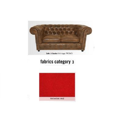 Sofá Cambridge, 2 puestos, tela 3 - Velvetex Red (160x76x92cms)