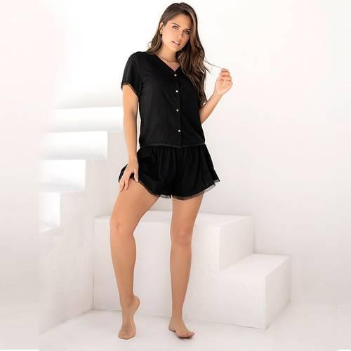 Pijama Pantalón Corto Negro 7836