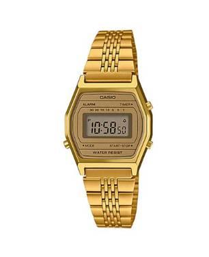 Reloj retro digital café-dorado A-9D