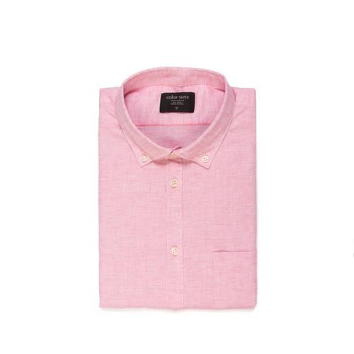 Camisa Leroy Manga Corta Color Siete para Hombre - Rojo