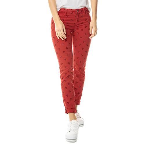 Pantalon Cinco Bolsillos Color Siete Para Mujer  - Rojo