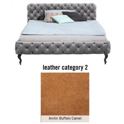 Cama Desire, cuero Anilin Buffalo Camel, (100x157x228cms), 140x200cm (no incluye colchón)