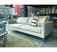 SOFA PORTOBELLO 3-SEATER, Entirely Upholstered in BOMBAY 14 (light beige) ,  Chrome Legs at end of sofa