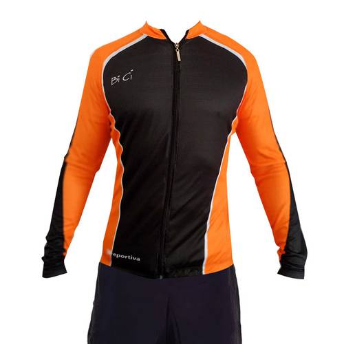 Camiseta Ciclismo Naranja Y Negro