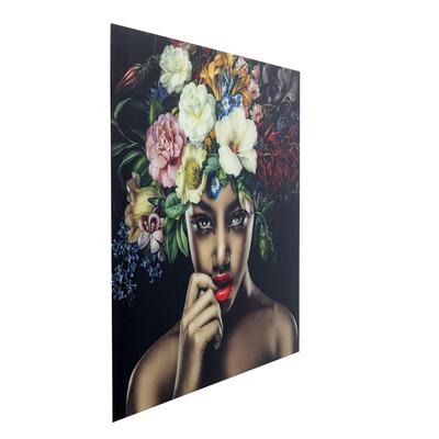 Cuadro cristal Pretty Flower Woman 100x100