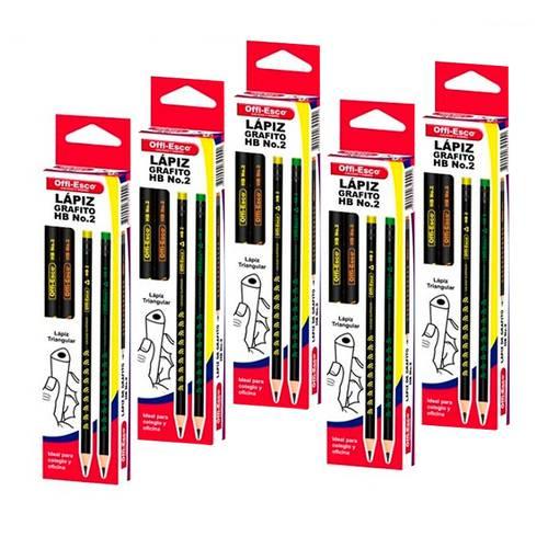 Lápiz Negro X12 - X5 Cajas + Gratis Pegante En Barra X 40 Gr