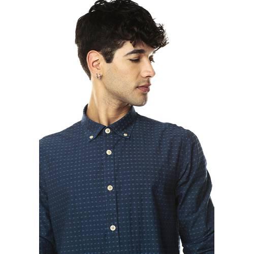 Camisa Manga Larga Rosé Pistol para Hombre-Azul