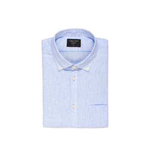 Camisa Leroy Manga Corta Color Siete para Hombre - Azul