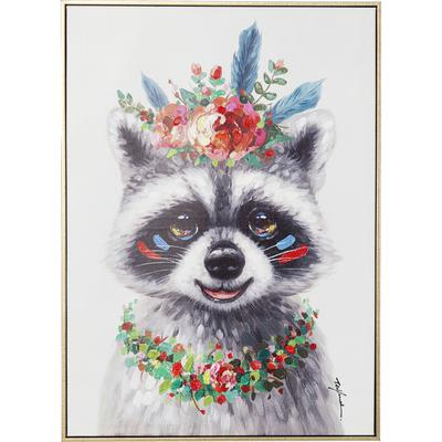 Cuadro Flowers Raccoon 72x52cm
