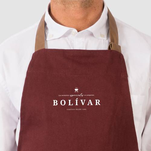 Delantal Color Siete Bolívar - Vino Tinto