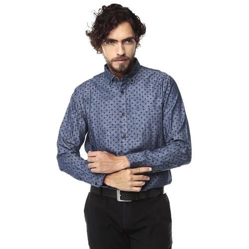 Camisa Manga Larga Jones Para Hombre Color Siete - Azul