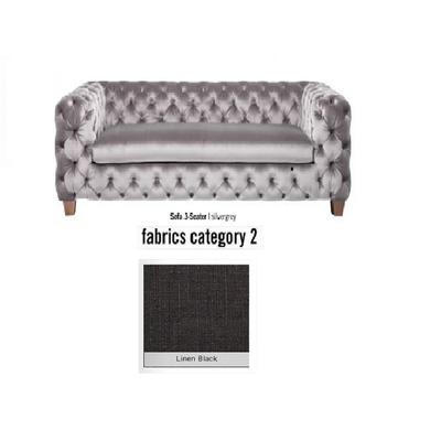 Sofá, 3 puestos, My Desire, tela 2 - Linen Black  (245x68x100cms)