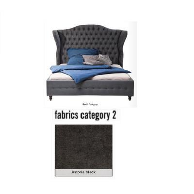 Cama City Spirit, tela 2 - Astoria Black,  (120x156x260cms), 140x200cm (no incluye colchón)