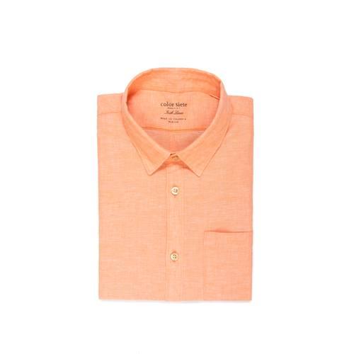Camisa Manga Corta Color Siete Para Hombre  - Naranja