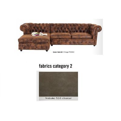 Sofá esquinero derecho Cambridge, tela 2 - Nobuko 516 charoal  (282x76x171cms)