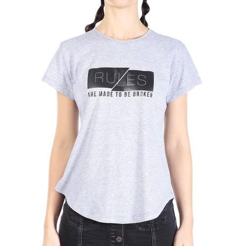 Camiseta Rose Pistol Para Mujer - Gris