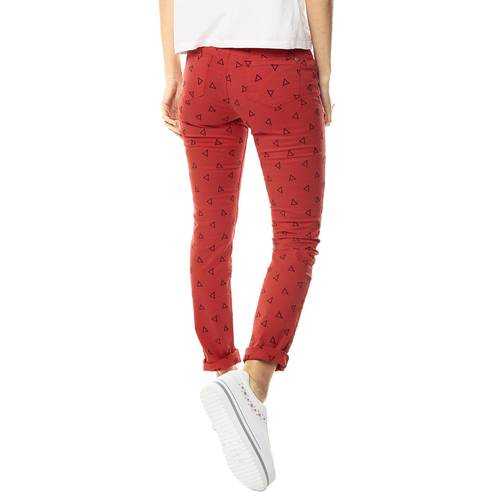 Pantalon Cinco Bolsillos Color Siete para Mujer-Rojo