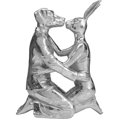 Objeto decorativo Kissing Rabbit and Dog plata
