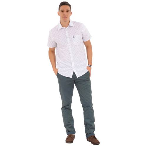 Camisa Manga Corta Greenport Jack Supplies para Hombre- Blanco