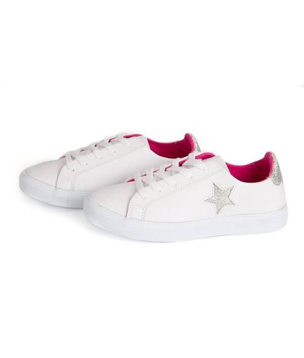 Tenis Niña Blancos Estrella Plata