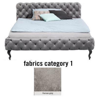 Cama Desire, tela 1 - Kansas Grey, (100x197x228cms), 180x200cm (no incluye colchón)