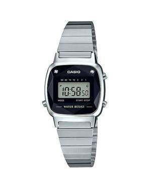 Reloj retro digital gris-negro-plateado D-1D