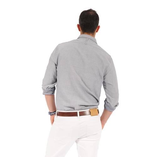 Camisa Manga Larga Thompsom Color Siete Para Hombre  - Azul