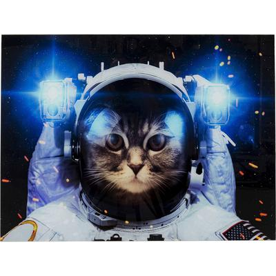 Cuadro cristal Cat in Space 80x60