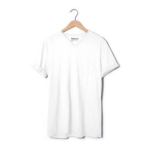 Camiseta Cuello V; Rosé Pistol Para Hombre - Blanco