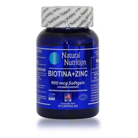Natural Nutrition Biotina + Zinc 900mcg x 60 Capsulas