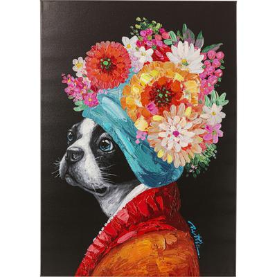Cuadro lienzo Flowery Dog 70x100cm