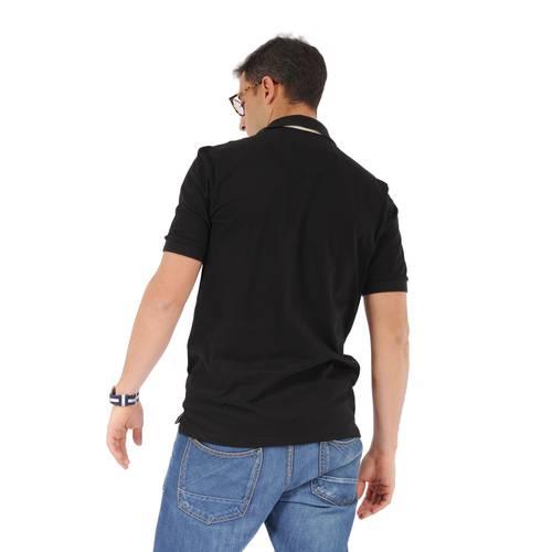 Camiseta Tipo Polo Color Siete para Hombre - Negro